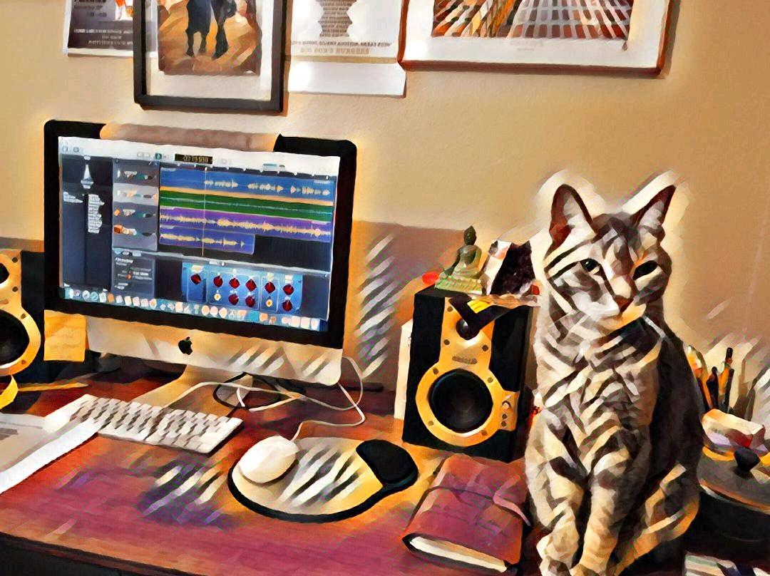 My Cat Thinks She's A Record Producer ~ a short poem by Katrina Curtiss  4/27/2020