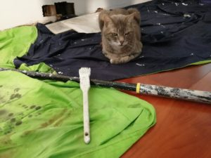 The Cat Who Tried Her Paw At Painting ~ a short poem by Katrina Curtiss 4/11/2020