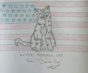 My Cat Celebrates Memorial Day ~ a short poem by Katrina Curtiss 5/23/2020