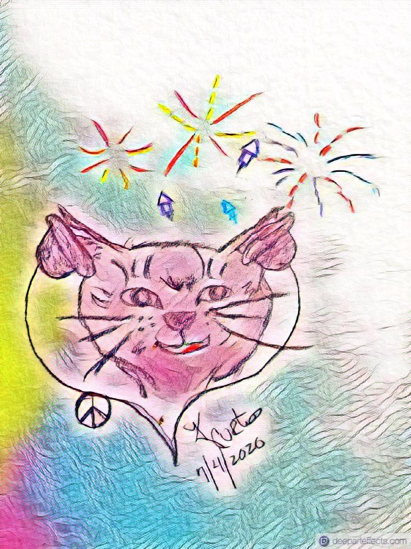 My Cat and 4th Of July Fireworks ~ a short poem by Katrina Curtiss 7/4/2020