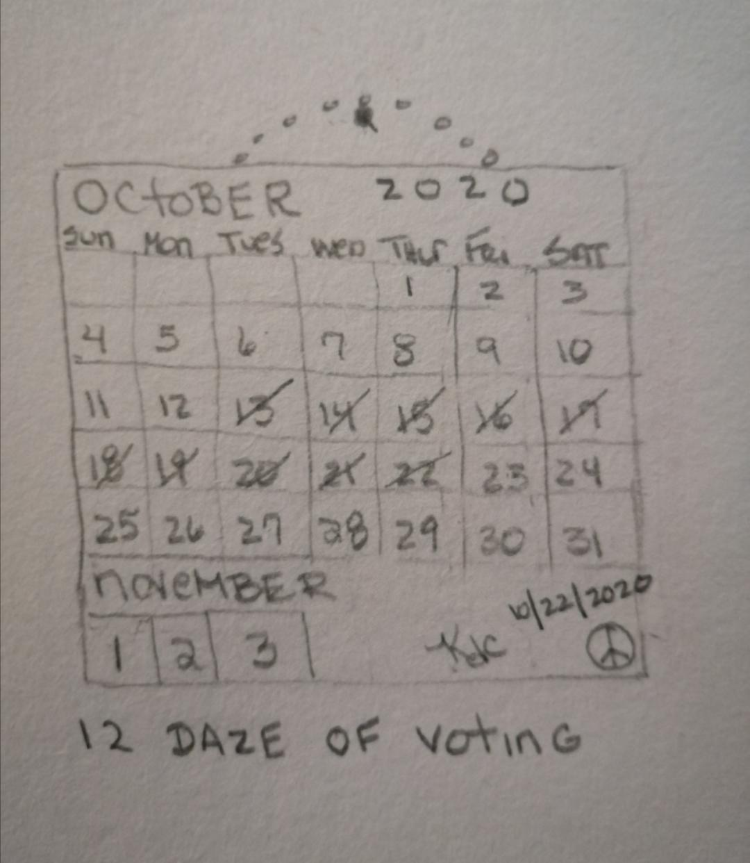 12 Days of Voting (Sung to the tune of The 12 Days Of Christmas) ~ by Katrina Curtiss 10/22/2020