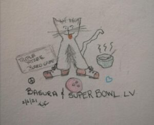 My Cat And Super Bowl Sunday ~ Katrina Curtiss 2/6/2021