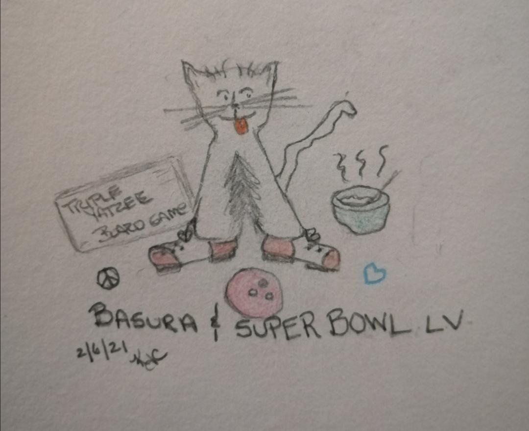 My Cat And Super Bowl Sunday ~ Katrina Curtiss 2/6/2021